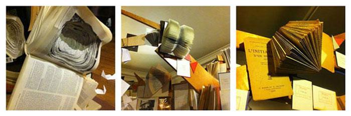 Oeuvre en trio, Sculpture/Installation/Performance photographique du projet «Qu'avez vous perdu?», la photographe Barbara Portallier crée vos futurs souvenirs. Réalisation d'un arbre à livres, univers du papier recyclé (La Ressourcerie et la bibliothèque de la Mairie du 10e) et des souvenirs transformés. Oeuvre artisanale et numérique, bois et livres détournés, pliages, forages et accumulations, Exposition Rencontres de la photographie du 10e, Mairie du 10e, Paris, Laure Devenelle/Diane Coquard/Barbara Portailler, 2013.