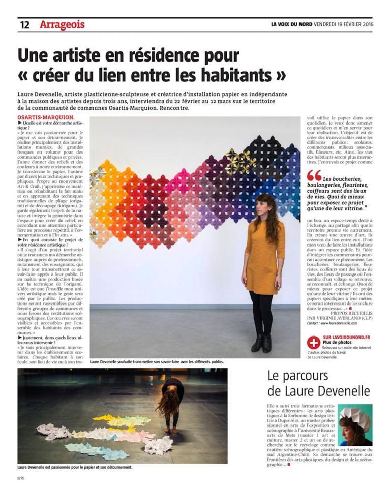 Article Voix du Nord Laure Devenelle Designer Papier