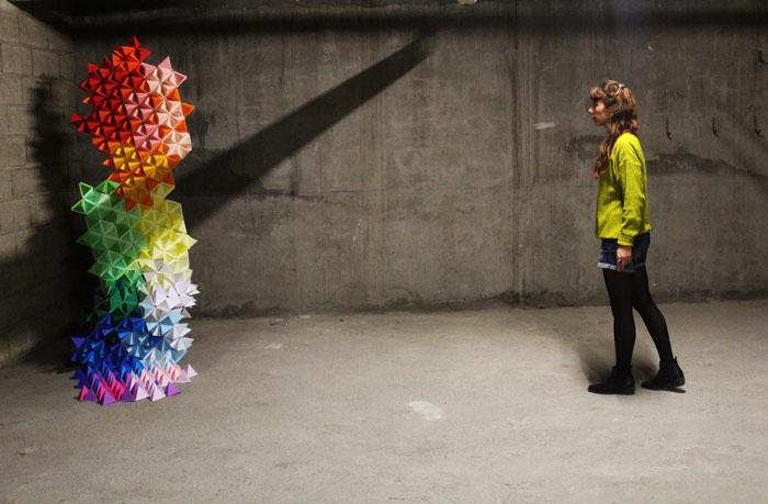 Soleil-Trangle-3D-paper-artExpo Fanatik Art Octobre 2015 Laure Devenelle