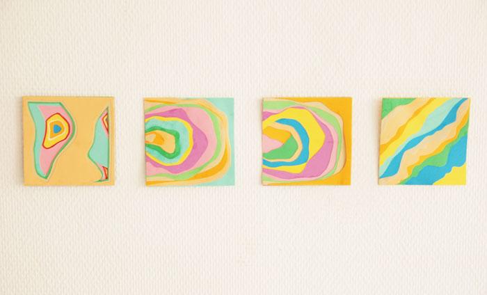 Jeu de Strate, papiers multicolores, superposition, Laure Devenelle