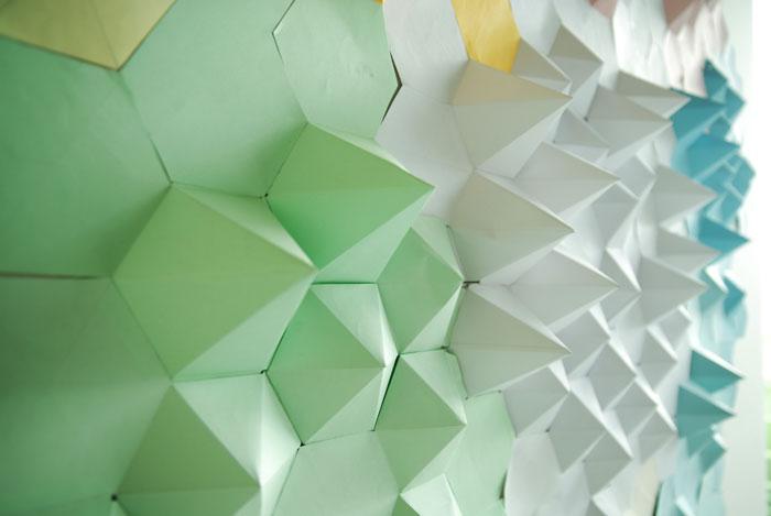 Paysage, cartographie, montagne, Origami, papier, hexagone, pliage, mur, espace, Laure Devenelle