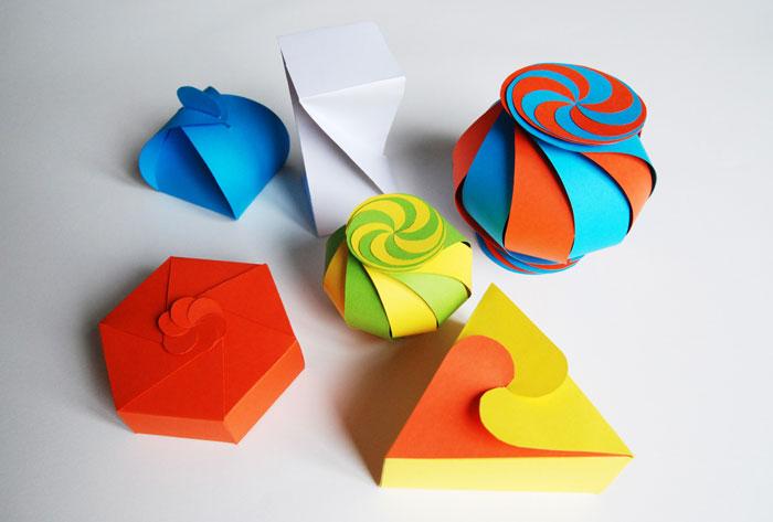 Packaging-Boite-2-©-Laure-Devenelle couleur psychéland origami pliage papier géométrie spirale