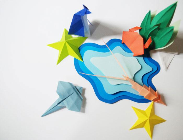Set-Design-©-Laure-Devenelle Faune-Marine Mer et crustacés papier origami Ludique et coloré