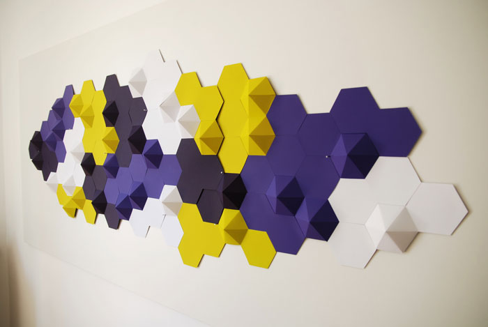CONSTELLATION, INSTALLATIONS MURALES ORIGAMI PAPER ART, TECHNYSTYLE, SAINT CLOUD, LAURE DEVENELLE