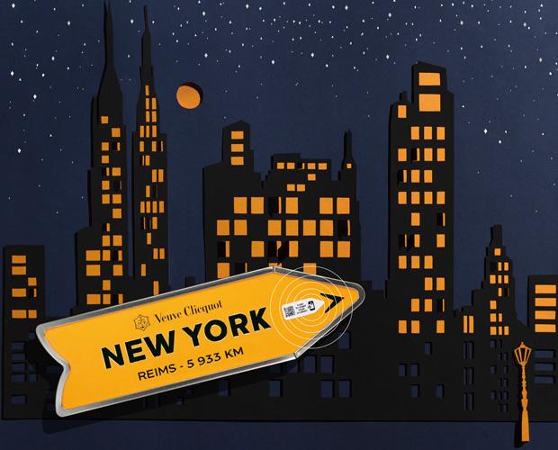 Set Design Paper Art Paysage découpé, ville, urbain, new york, papiers superposés, Kirigami Laure Devenelle Pack Journey pour VCP Veuve Clicquot Ponsardin