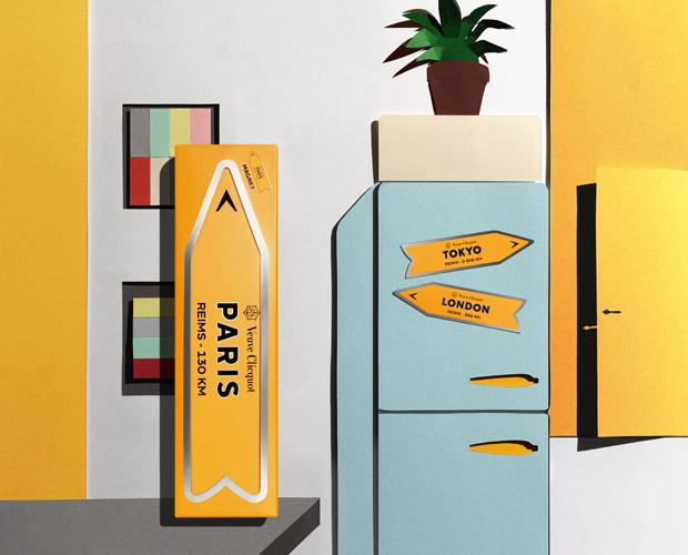 Set Design Paper Art Intérieur appartement, urbain, ville, modernité, évasion, envie, frigo, Kirigami Laure Devenelle Pack Journey pour VCP Veuve Clicquot Ponsardin