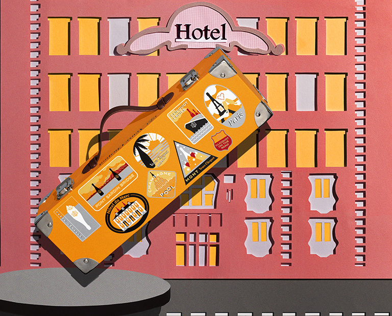 Set Design Paper Art Voyage, repos, hotel, valise, flanerie, paper art, Kirigami Laure Devenelle Pack Journey pour VCP Veuve Clicquot Ponsardin