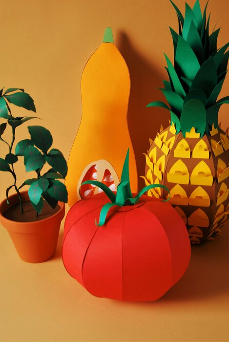 fruits-legumes-ananas-basilic-tomate-butternut-paper-art-sculptures-set-design-volume-pour-scenographie-karine&jeff-laure-devenelle