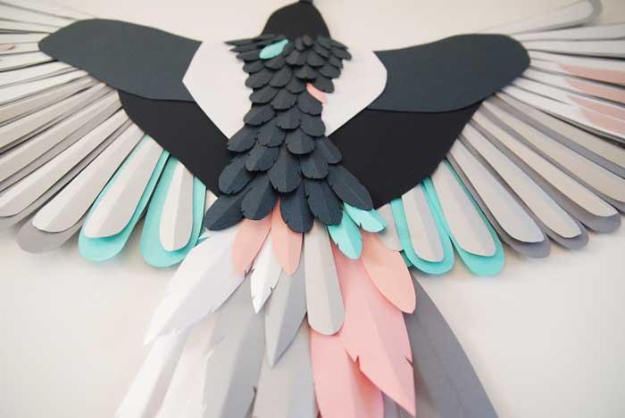Oiseau, zoom 3, 3D paper, sculpture, volume, kirigami, découpe papier, scenographie de vitrine avec mapetitevitrine, création, 2018, Laure Devenelle