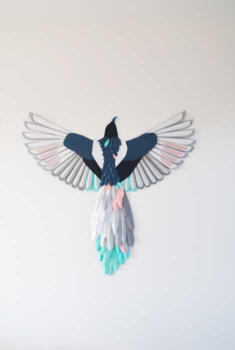 Oiseau, 3D paper, sculpture, volume, kirigami, découpe papier, scenographie de vitrine avec mapetitevitrine, création, 2018, Laure Devenelle