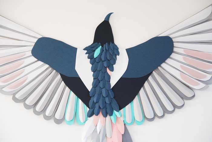 Oiseau, zoom, 3D paper, sculpture, volume, kirigami, découpe papier, scenographie de vitrine avec mapetitevitrine, création, 2018, Laure Devenelle