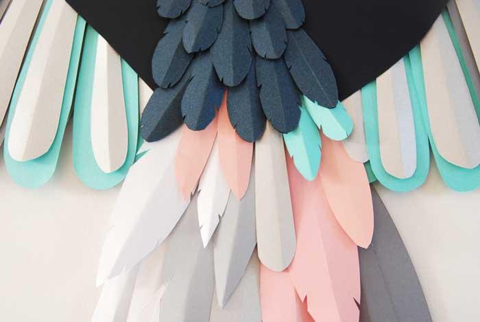 Oiseau, zoom 2, 3D paper, sculpture, volume, kirigami, découpe papier, scenographie de vitrine avec mapetitevitrine, création, 2018, Laure Devenelle