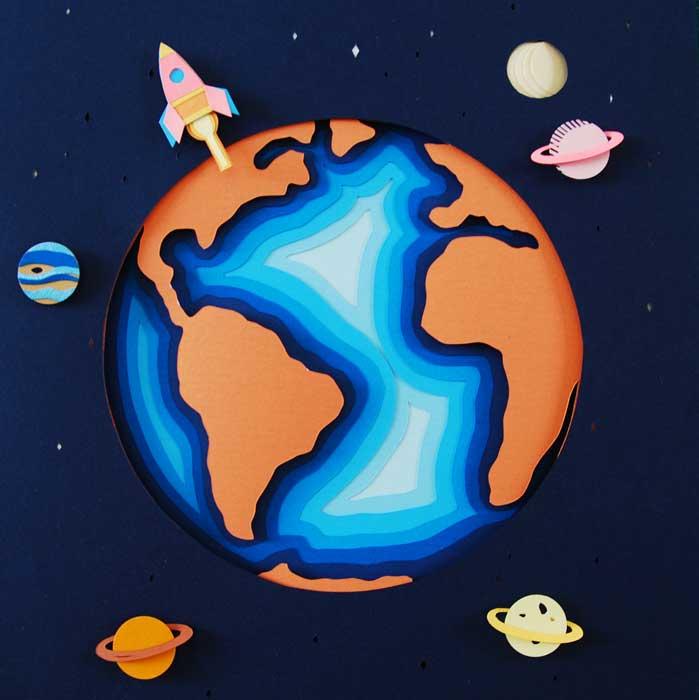Planete journée de la Terre, fusée, Nuit, superposition paper art, papier clairefontaine, Laure Devenelle