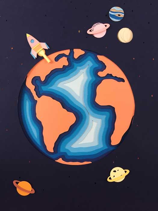 Planete journée de la Terre, tableau final, fusée, superposition paper art, papier clairefontaine, Laure Devenelle
