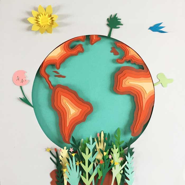 Planete journée de la Terre, jour, superposition paper art, papier clairefontaine, Laure Devenelle