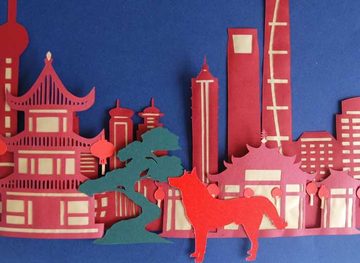 Shanghai, Ville papier découpé, Kirigami, Nouvel An Chinois, 2018, Laure Devenelle
