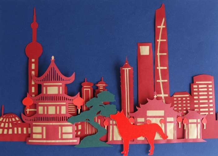 Shanghai, zoom, Ville papier découpé, Kirigami, Nouvel An Chinois, 2018, Laure Devenelle