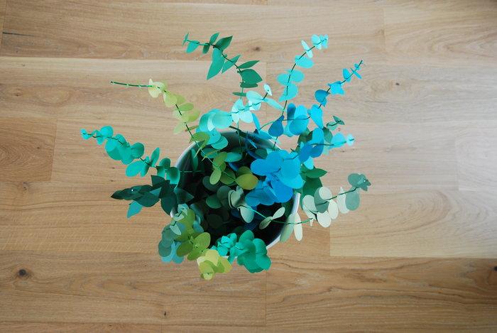 Bouquet Eucalyptus paper, paper plant, papier, green, feuilles, kirigami, Laure Devenelle
