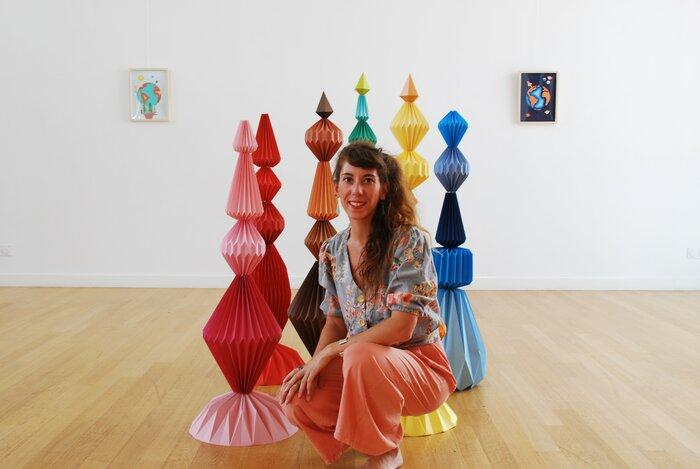 portrait-Sculptures-Totems-exposition-personnelle-Lamaziere-Origami-papier-©-Laure-Devenelle-2018