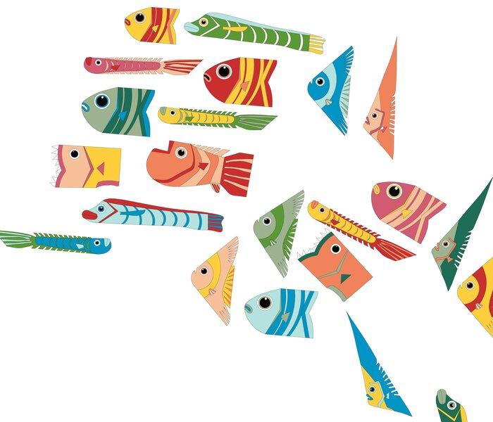 banc-de-poissons-fish-paper-art-simulation-scenographie-de-vitrine-pour-Muriel-gants-Paris-Laure-Devenelle