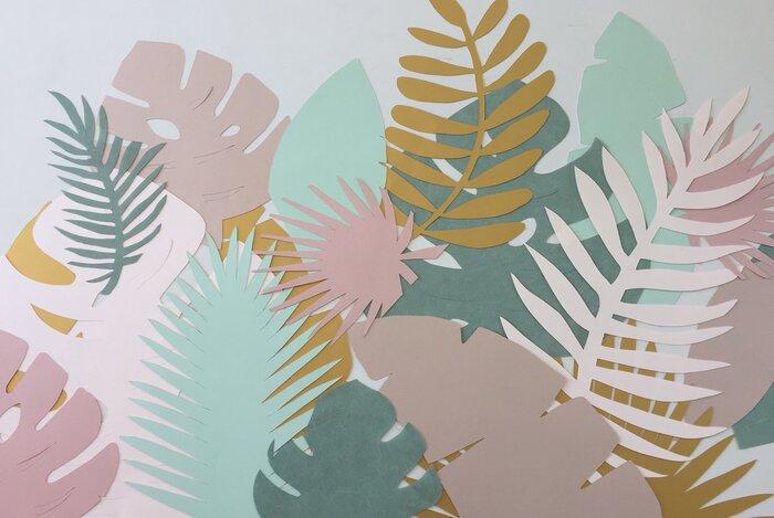 Feuillage tropical zoom, art du papier, paper cut, gamme pastel, creation Laure Devenelle, Paris, 2019