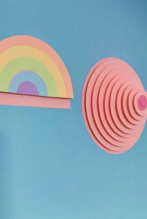 Sein-arc-en-ciel-3D-boobs-paper-art-strates-octobre-rose-ligue-contre-cancer-2020
