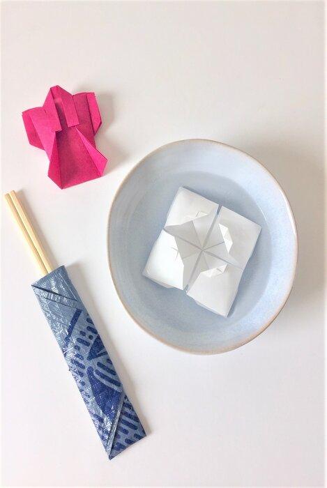 kimono, fleur, étui, origami paper resistant, papier sac poubelle handy bag, creation, Laure Devenelle 2019