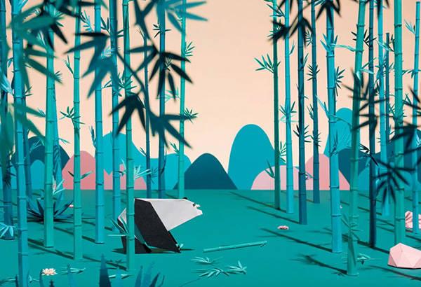 Origami-panda-foret-bambou-montagnes-paper-collection-lunettes-play-wild-generale-d-optique-wwf-Laure-Devenelle