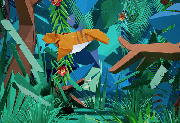 Origami-tigre-décor-paper-jungle-collection-lunettes-play-wild-generale-d-optique-wwf-Laure-Devenelle