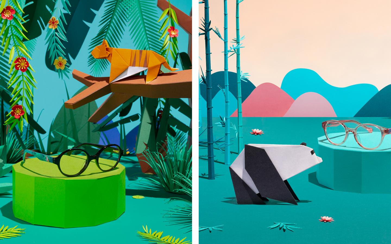 Origami-tigre-panda-décor-paper-collection-lunettes-play-wild-generale-d-optique-wwf-Laure-Devenelle