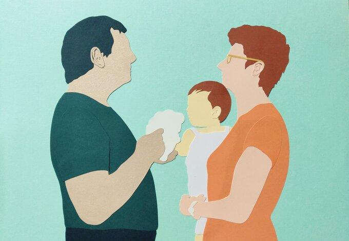 Grands-parents-petit-fils-tableau-papier-découpé-création-Laure-Devenelle