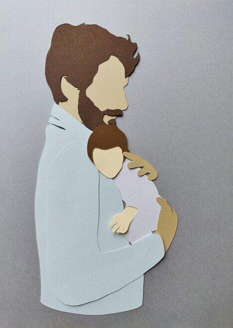portrait-illustration-papier-découpé-fete-des-pères-cadeaux-fait-main-laure-devenelle