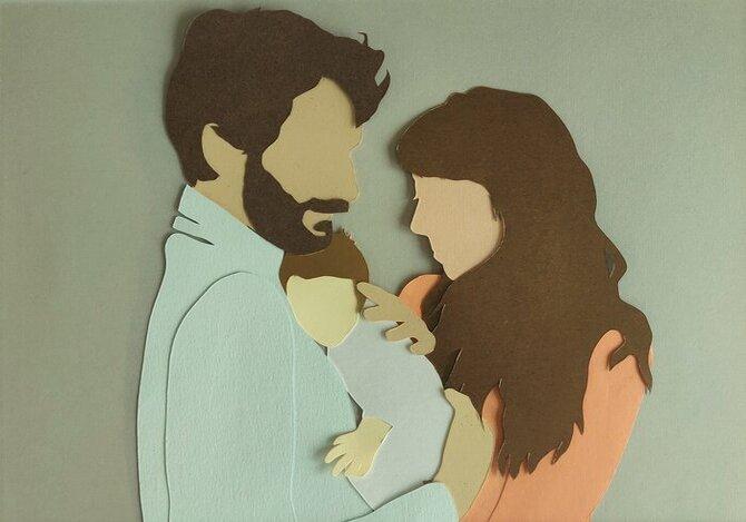 Famille-illustration-papier-découpé-photo-profile-amour-cadeau-Laure-Devenelle